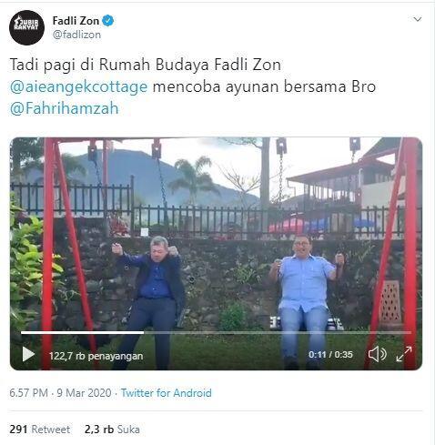 Main Ayunan Bareng Fadli Zon, Fahri Hamzah: Supaya Enggak Kena Corona