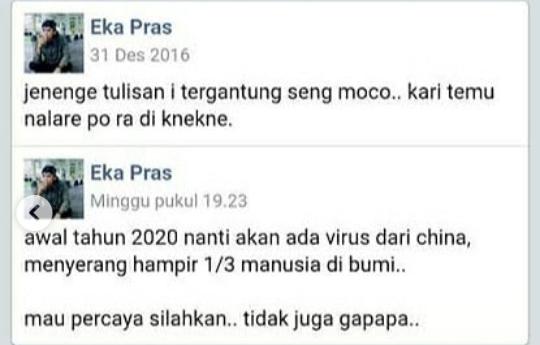 Status Fb Eka Pras Ramalan Virus Corona 2016, Ternyata Hoax! Niat Awal Cuma Bercanda
