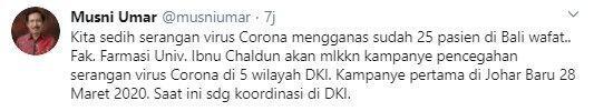 Sebut 25 Pasien Corona Meninggal, Rektor UIC Dituding Sebar Hoaks