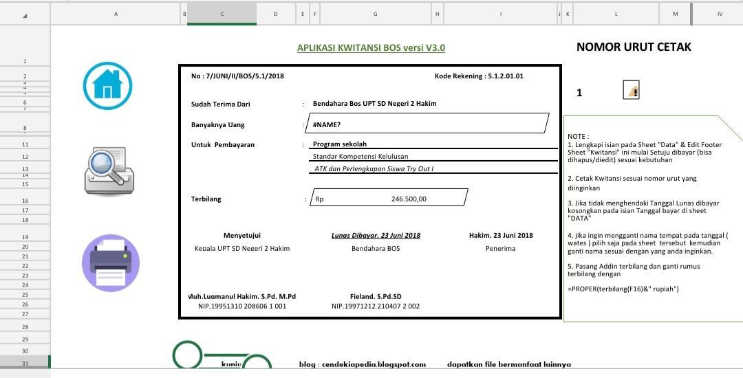 Download Kwitansi Otomatis BOS Terbaru