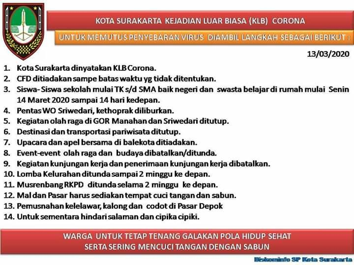 Pemerintah Kota SURAKARTA ambil Sikap Tegas Terhadap COVID 19
