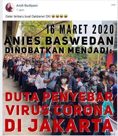 Viral Anies Dinobatkan sebagai Duta Penyebar Corona, Netizen: Melawan Presiden