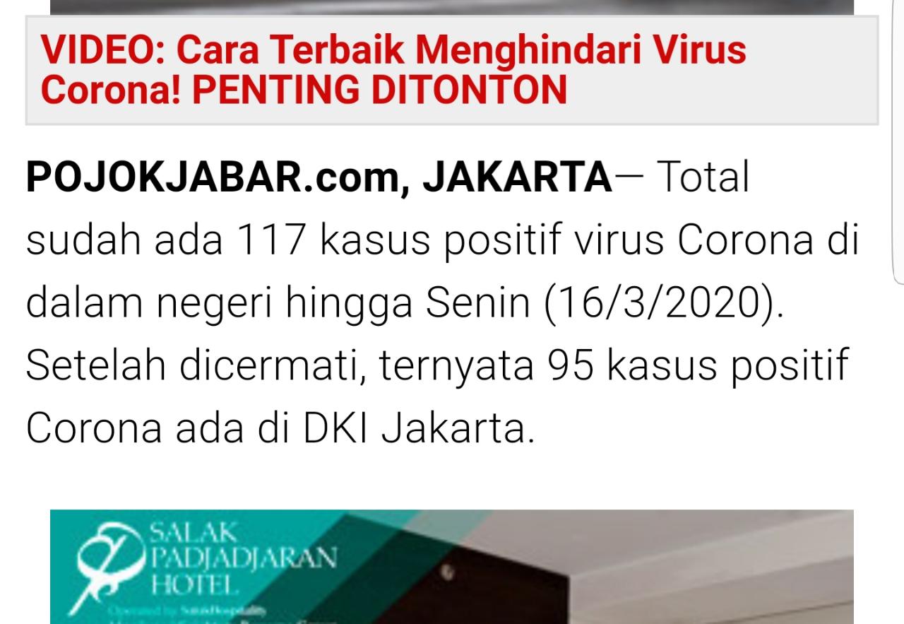 Update: Total Positif Corona 172 Orang, Jakarta 95 Orang Terjangkit