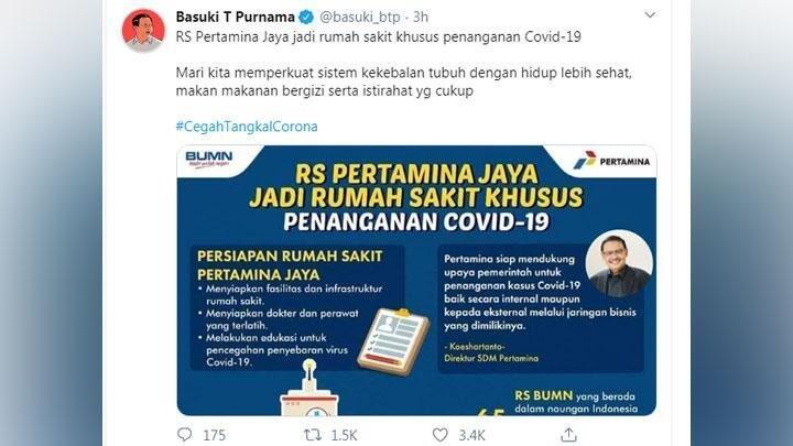 Ahok Promosikan RS Pertamina Jaya Jadi Rumah Sakit Khusus Corona