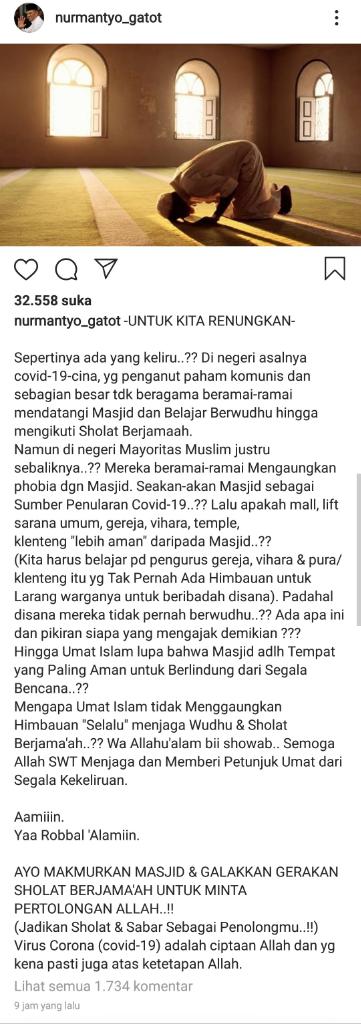 Eks Panglima TNI Gaungkan Makmurkan Masjid dan Salat Berjemaah Lawan Corona