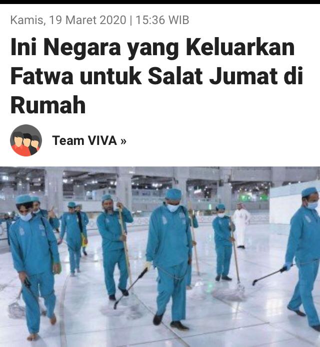 Ini Negara yang keluarkan Fatwa Shalat Jumat di Rumah