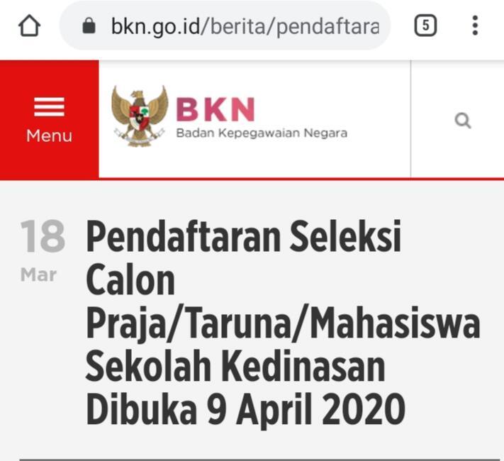 Pendaftaran Sekolah Kedinasan Dibuka Bulan April 2020