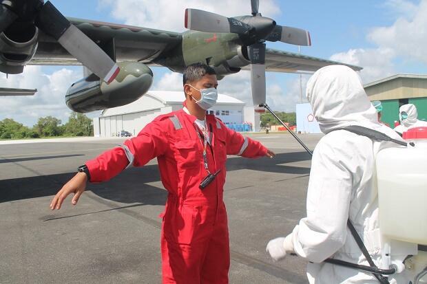Hercules A-1333 Tiba di Natuna, Kru, Pesawat, dan Bagasi Didisinfektasi