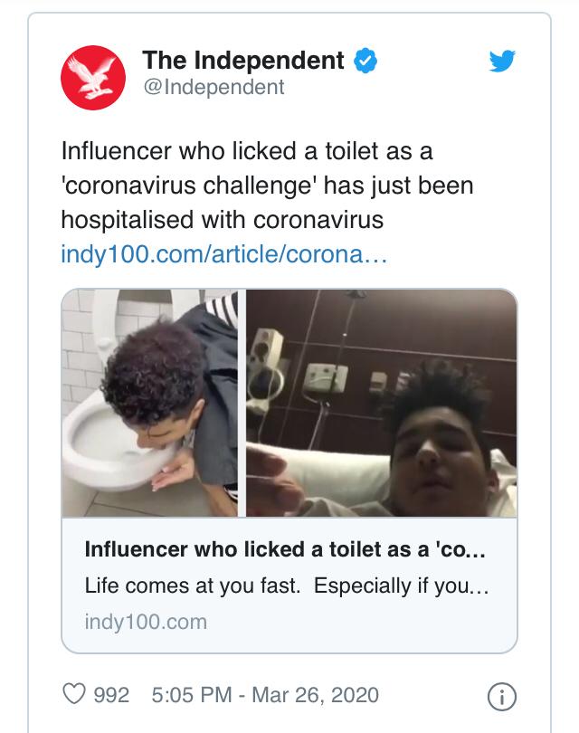 Remaja Ini Terjangkit Corona Usai Jilati Toilet Duduk