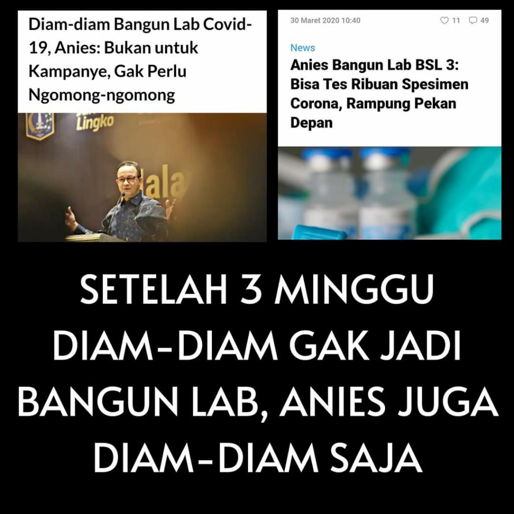 Sudah Sebulan,Menanti Janji Anies Wujudkan Lab BSL3 untuk Cek Sampel Corona diJakarta