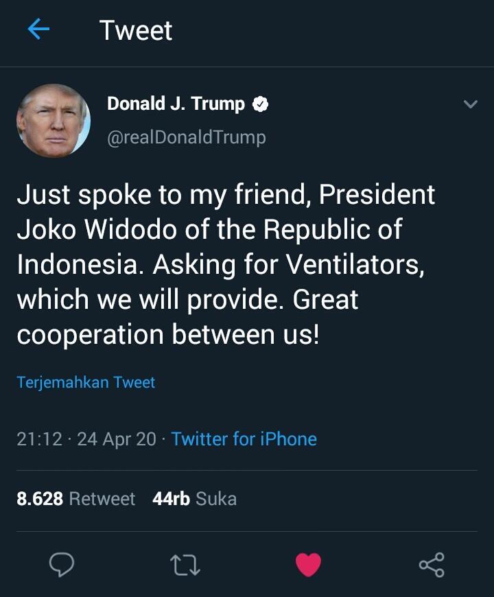 Kerja Sama Jokowi Dan Donald Trump Dikala Pandemic Covid19.