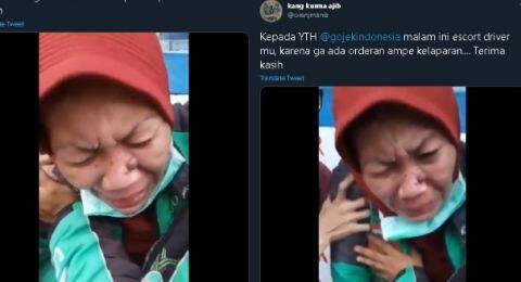 Video Sopir Ojol Menangis, Diduga Kelaparan karena Sepi Orderan