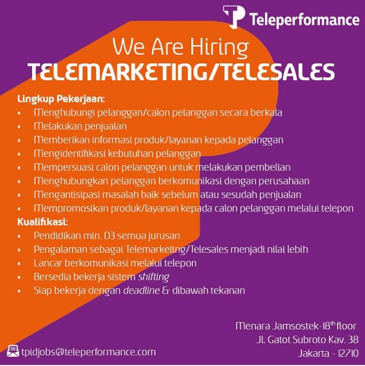 [Jakarta ] - Loker Telesales Officer [Urgent !!!]