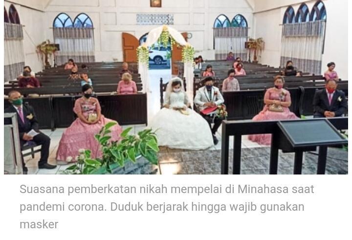 Cerita Pernikahan di Minahasa, Duduk Berjarak hingga Wajib Gunakan Masker