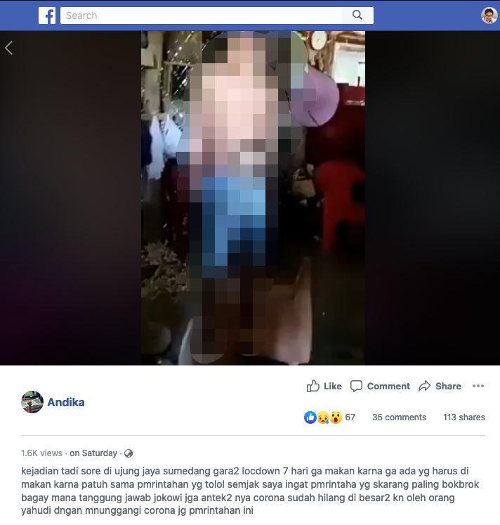 Ibu dan 2 Anak Bunuh Diri Karena Kelaparan Akibat Lockdown di Sumedang. HOAKS/FAKTA?