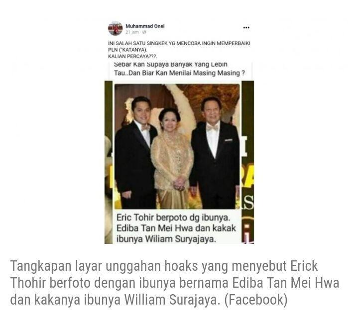 Beredar di Media Sosial Menteri BUMN Erick Thohir Asal China, Nama Ibunya Tan Mei..