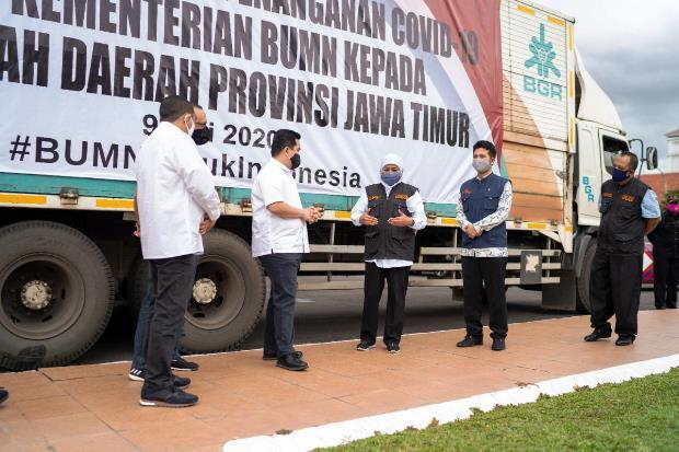 Kementerian BUMN Serahkan Sumbangan untuk Pemprov Jawa Timur