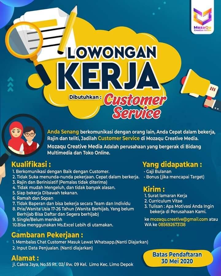Loker Customer Service Wilayah Limo, Depok, Jabar