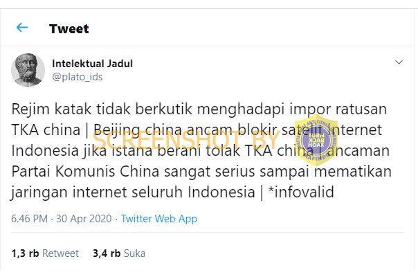 Jika TKA Tiongkok Ditolak Masuk Indonesia, Internet akan Diblokir. HOAKS / FAKTA?