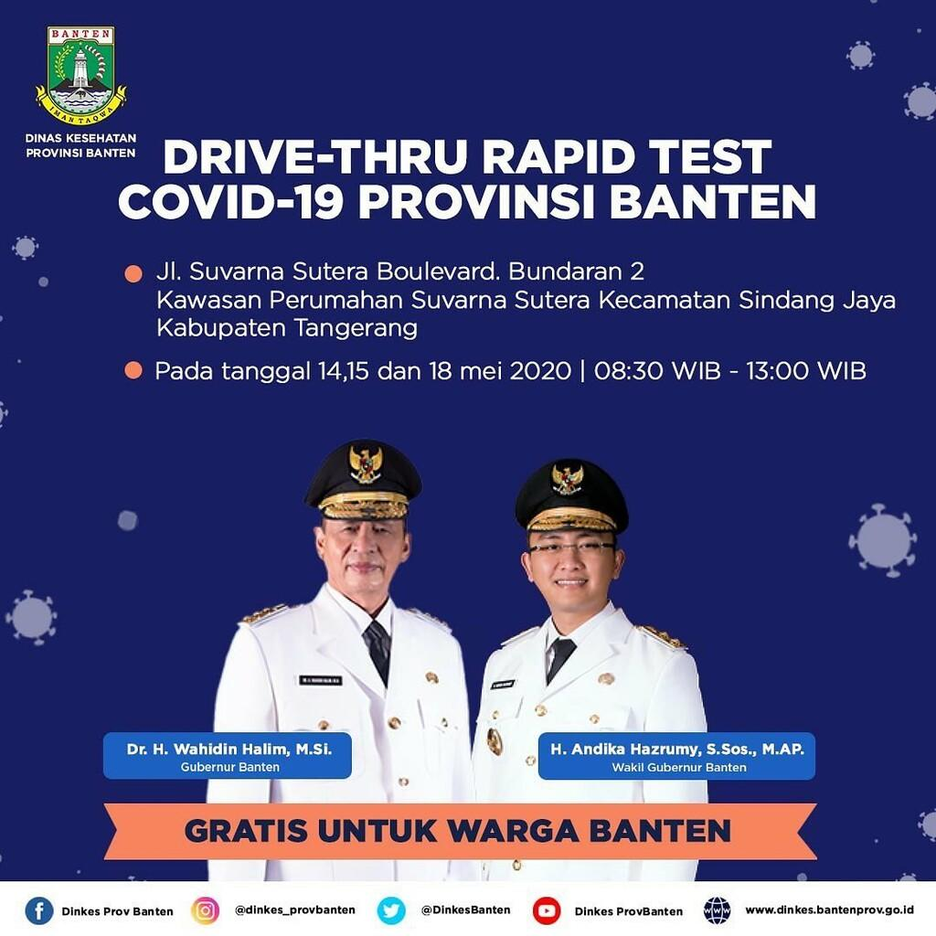 Dinkes Provinsi Banten Kembali Gelar Drive Thru Rapid Test