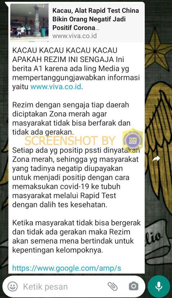 Rezim Jokowi Masukan Virus Corona ke Tubuh Warga saat Rapid Test. HOAKS / FAKTA?