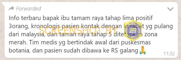 """Pesan Berantai """"Taman Raya Tahap V Batam Zona Merah COVID-19"""". HOAKS / FAKTA?"""