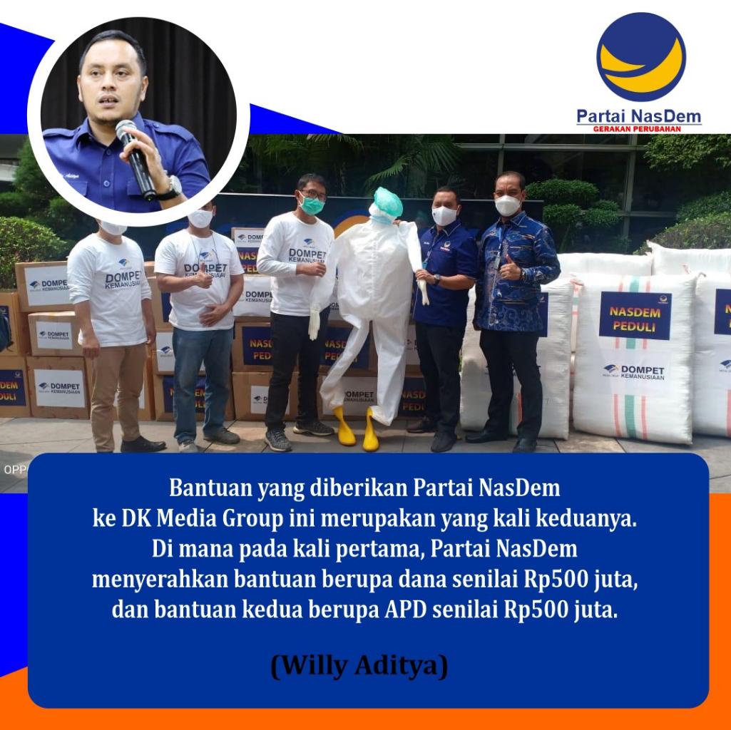 Salut! Partai NasDem Salurkan Bantuan Rp 500 Juta Dari Iuran Seluruh Anggotanya
