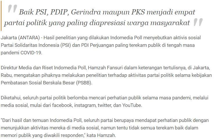 Aktivitas sosial PSI dan PDIP paling terekam publik di tengah COVID-19