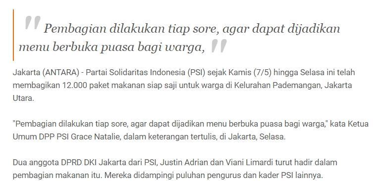 PSI telah bagikan 12.000 paket makanan bagi warga Pademangan Jakarta