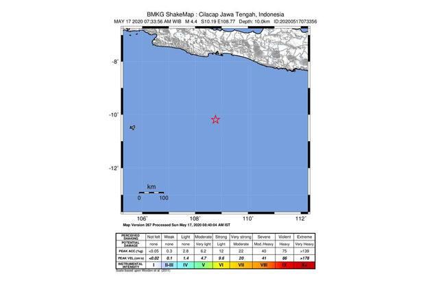 Berkekuatan 4,4 SR, Gempa Bumi Guncang Cilacap Tak Berpotensi Tsunami