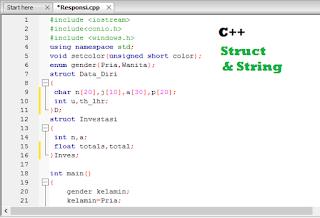 Contoh Program C++ Menggunakan Fungsi Struct Pada