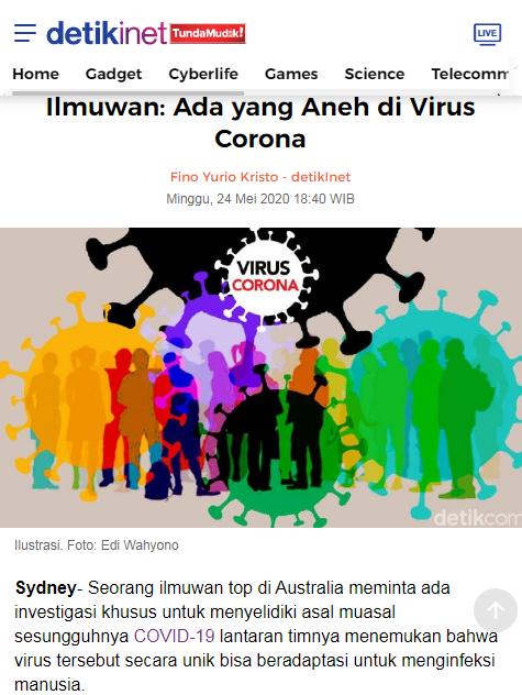 Ilmuwan: Ada yang Aneh di Virus Corona