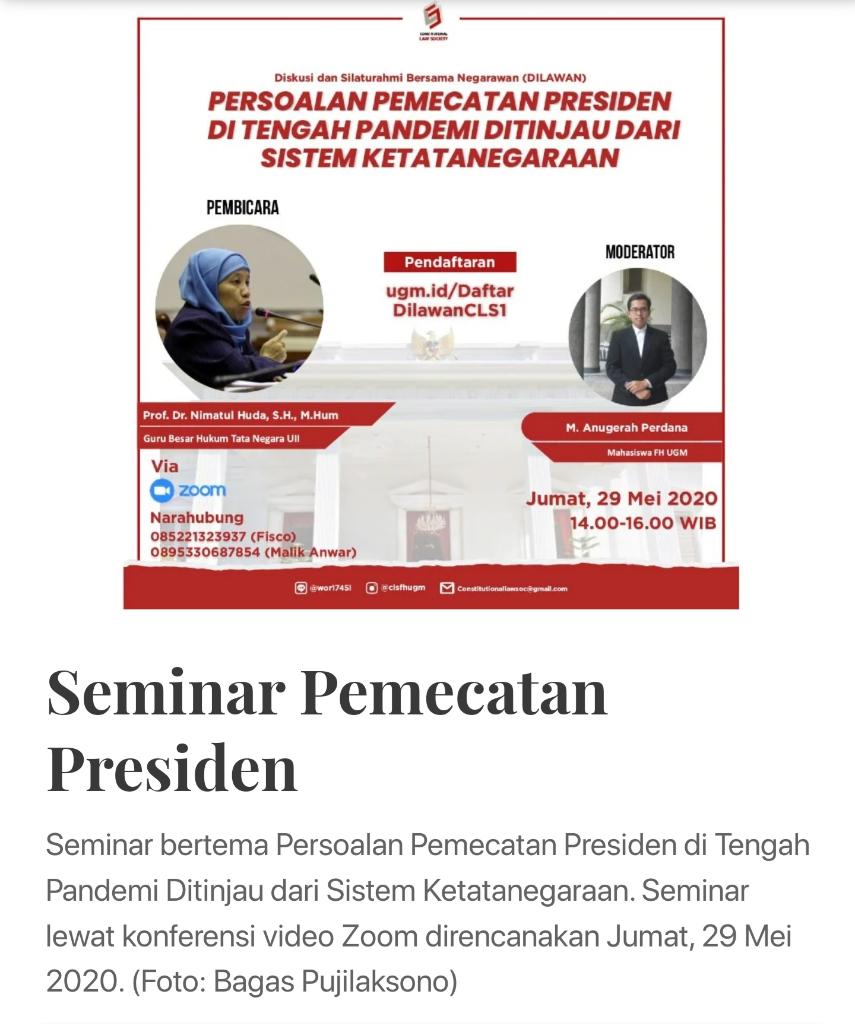 Ada Gerakan Makar di UGM Saat Jokowi Sibuk Atasi Covid-19
