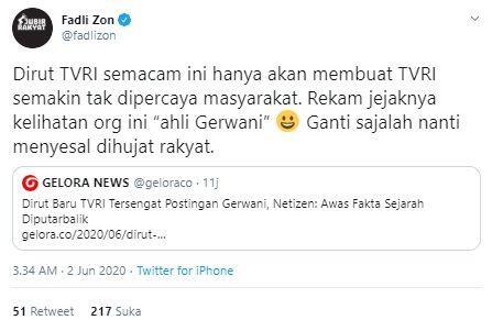 Sebut 'Ahli Gerwani', Fadli Zon Minta Dirut TVRI Iman Brotoseno Diganti