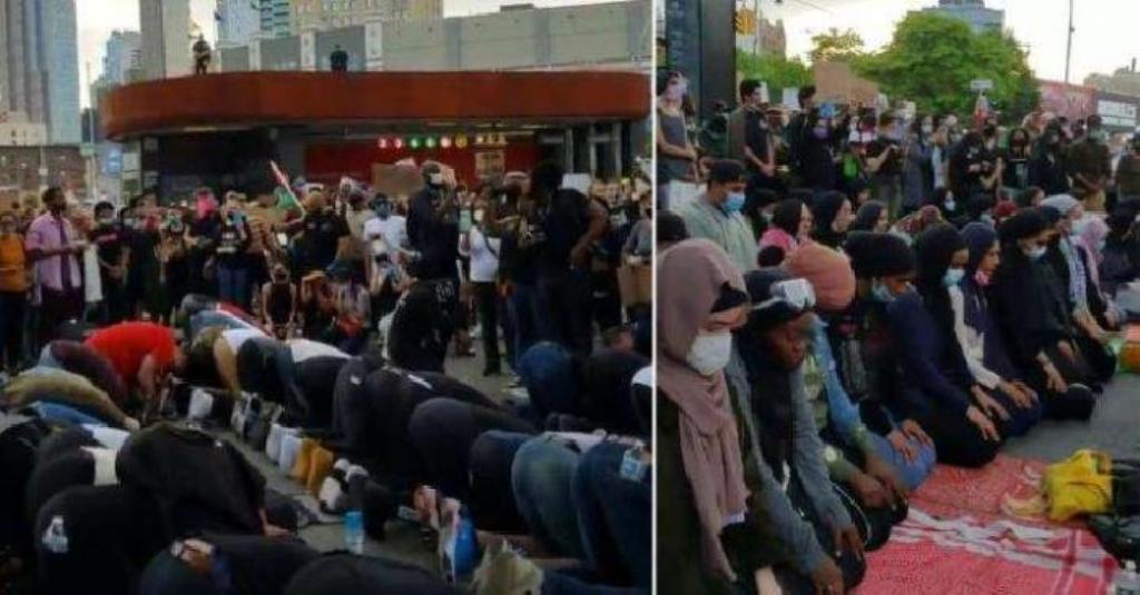 Adem Lihatnya, Pendemo Kematian George Floyd Lindungi Muslim yang Sedang Shalat