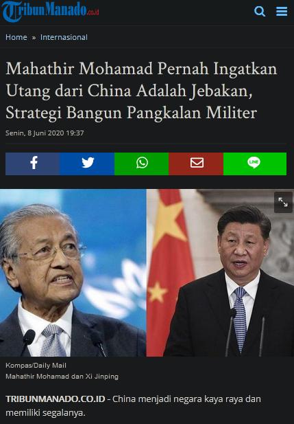 Mahathir Mohamad Pernah Ingatkan Utang dari China Adalah Jebakan