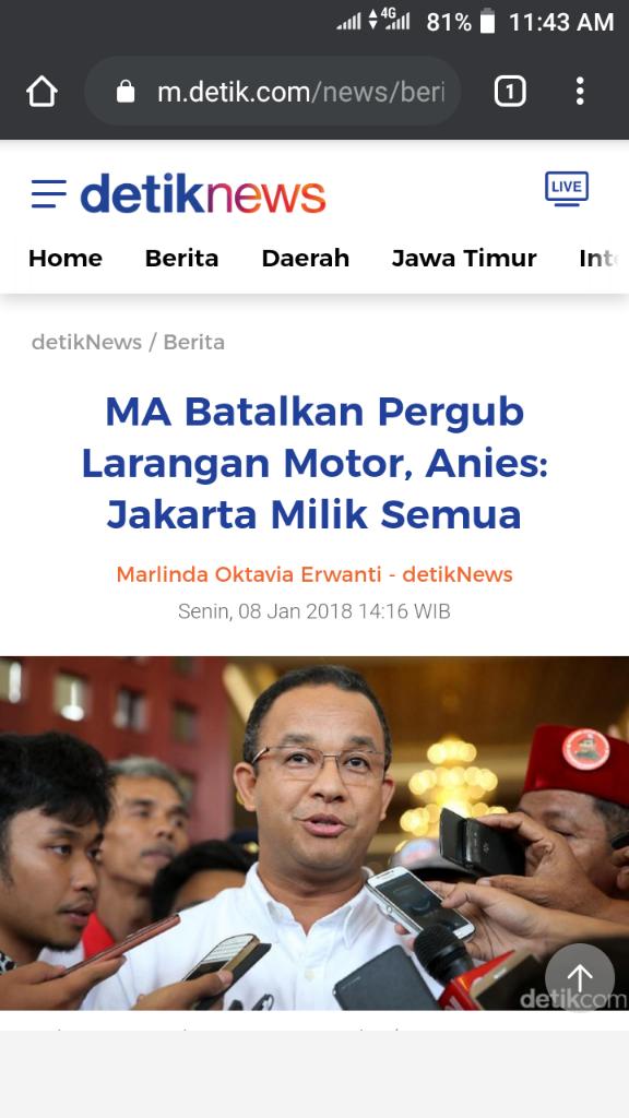 Dulu 'Bebaskan' Pemotor di Thamrin, Sekarang Anies Malah Ingin Batasi