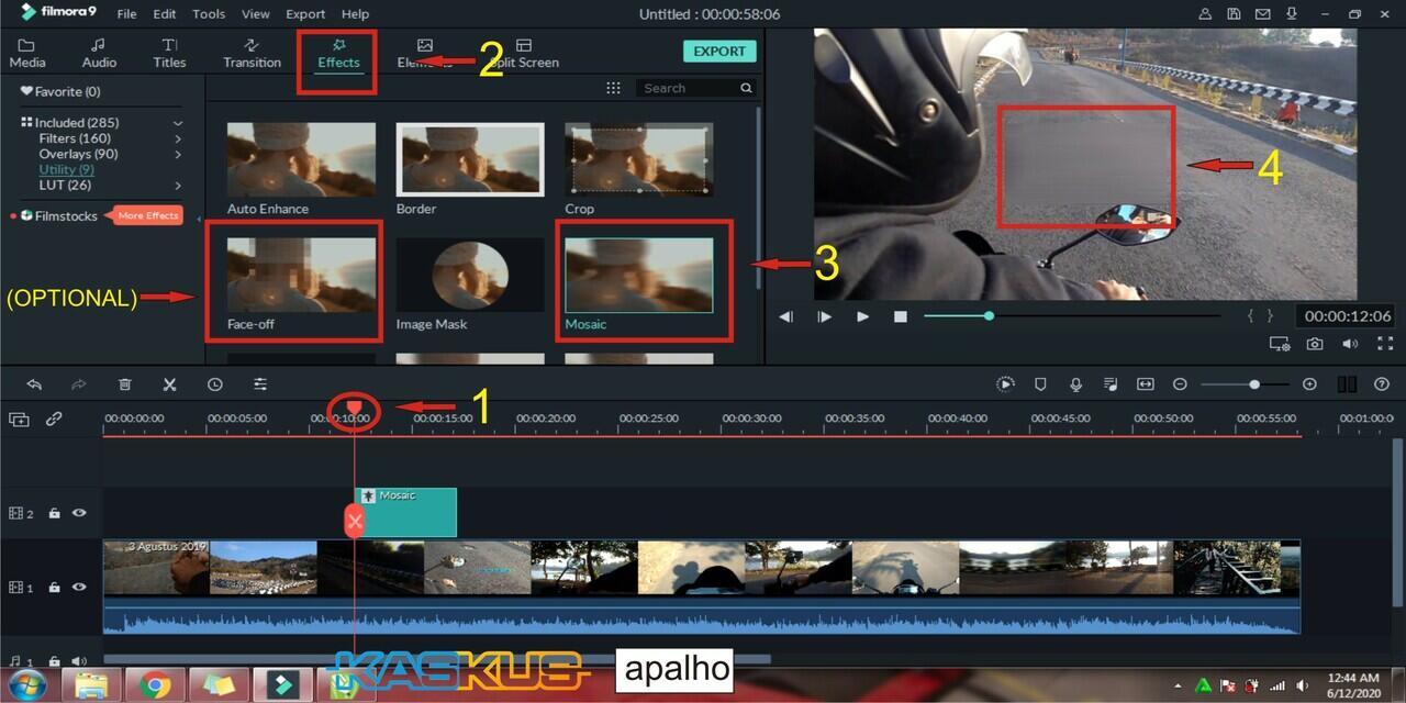 Cara Memblurkan atau Sensor Objek/Subjek di Wondershare Filmora 9