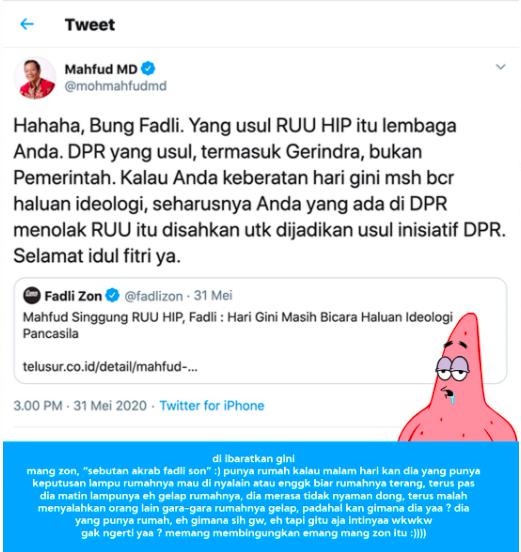 Terkait RUU Haluan Ideologi Pancasila , Mahfduz MD Tertawai Fadli Zon melalui Twitter