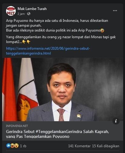 Viral Civilwar#TenggelamkanGerindra, Netizen: Kadrun Tenggelamkan, Baru Damai Negriku