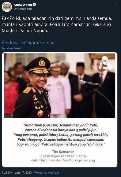 Mantan Kapolri Lontarkan Humor Gus Dur, Alissa: Pak Polisi, Ada Teladan Nih
