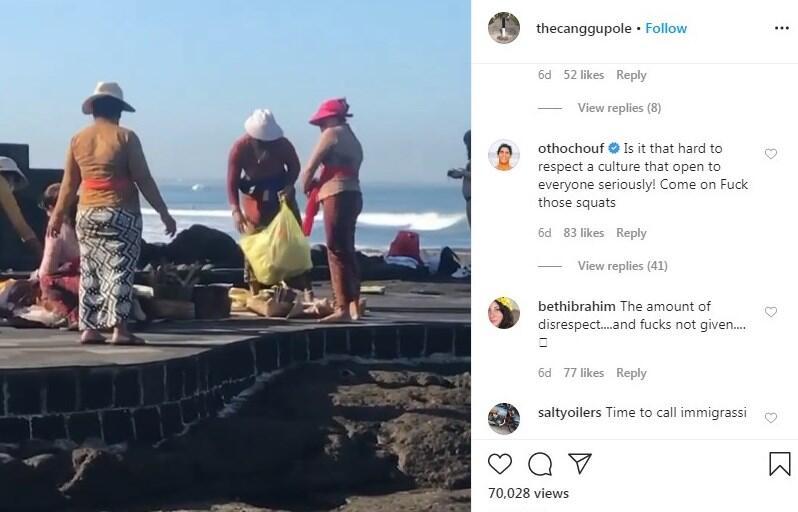 Heboh Turis Bule Pose Seksi di Samping Ibu-ibu Lagi Sembahyang, Netizen Auto Ngegas