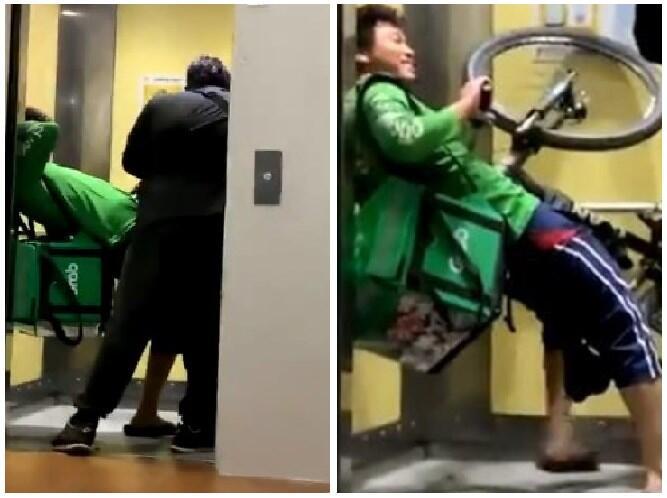 Viral Driver Ojol Kejebak di Lift Bareng Sepedanya, Mau Ngakak Tapi Gak Tega!
