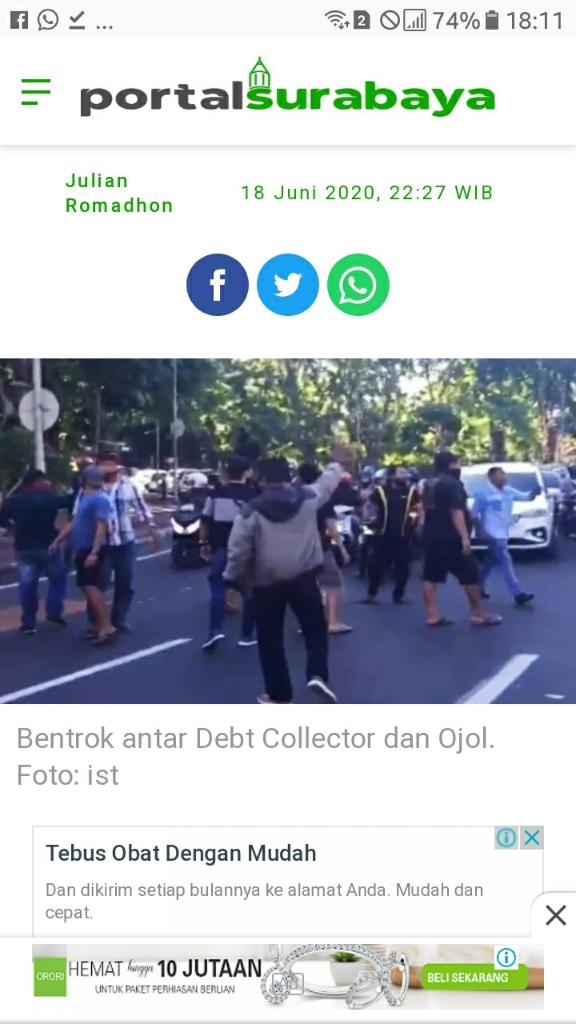 Tiga Orang Driver Ojol jadi Korban Penusukan Saat Keributan Dengan Debt Collector