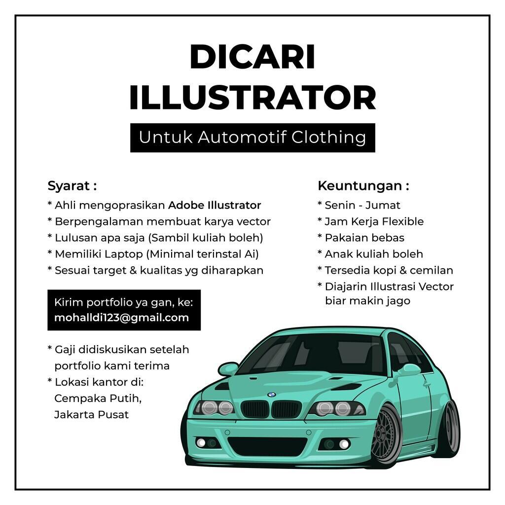 (Jakarta) Dicari Illustrator untuk Automotif Clothing (Yg jago vector art)