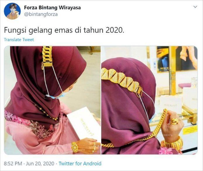 Wanita Ini Pakai Masker Cantolannya Emas, Netizen: Orang Kaya Beda