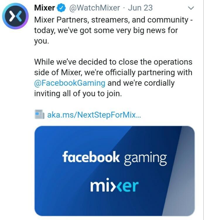 Microsoft Umumkan Kerja Samanya Dengan Facebook Gaming, Mixer OTW Tutup