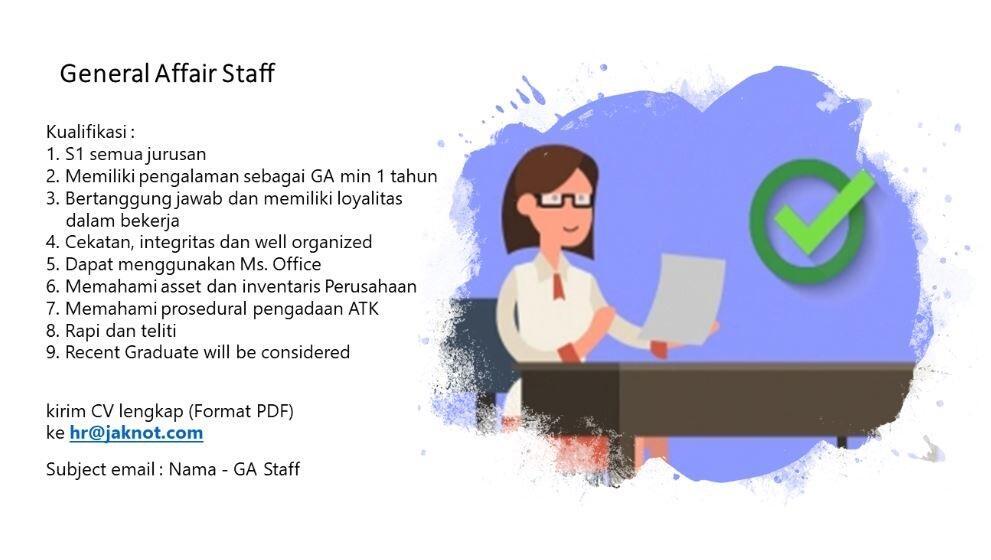 """Lowongan Kerja """"General Affair (GA) Staff"""""""