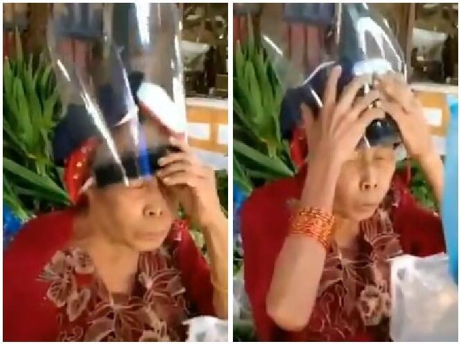Gaya Nyeleneh 'Nenek2 New Normal' Pakai Face Shield, Mau Ngakak Tapi Takut Kualat!