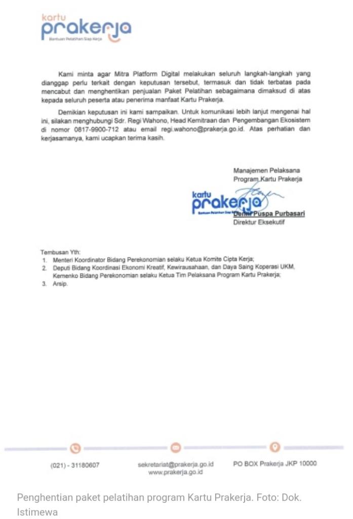 Beredar Surat Pemerintah Setop Program Paket Pelatihan di Kartu Prakerja